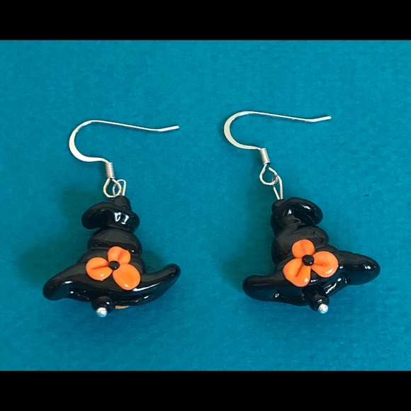 Glass Bead Black Witches Hat Earrings